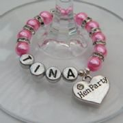 Hen Party Personalised Wine Glass Charm - Full Sparkle Style